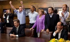 G-8 Summit leaders watch Champions League penalty shootout!