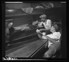 Edwin Rosskam. In the cabin of the Beatrice S., a beam-trawler which was one of a considerable fleet that fished out of Provincetown as late as '37. [...] This cabin is the living, dining, bedroom and kitchen. Provincetown, Massachusetts. 1937 Summer. Library of Congress.