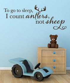 Wall Vinyl Quote  To go to sleep I count antlers by aubreyheath, $37.00