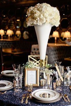 White Floral wedding centerpiece, Old Hollywood wedding, sequin linen, gold and navy wedding table, Las Vegas wedding planner
