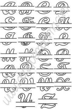 Script Split Alphabet Applique Design