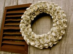Shabby Chic Paper Rose Wreath