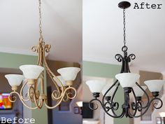 Chandelier Makeover - Spray paint old chandelier for an easy update