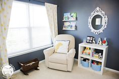 Slate walls with yellow accents - what a beautiful #nursery! #grayandyellow
