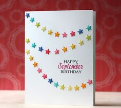 Happy September Birthday Card by Laura Bassen for Papertrey Ink (August 2014)