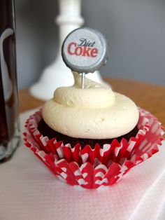 Diet Coke Cupcakes - Chocolate Fudge Cupcakes with White Chocolate Buttercream Frosting and edible bottle caps.