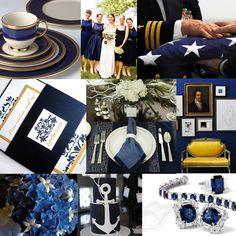 I love Navy and Gold together - of course. They're classic! I was looking for inspiration for a very DC Wedding and I think bringing in the something of the Naval officer and Presidential China makes a classic Navy themed wedding reception into something more DC!