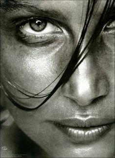 face, portrait photography, black white photography, black and white photo, art, laetitia casta, beauti, eye, photographi