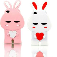 Pink and white silicone bunny iPhone 4 cases (compatible with all models of the iPhone 4) for $10.86