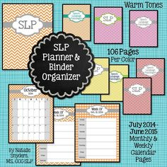 106 page planner binder organizer for SLPs! Available in orange, pink, red, and yellow (cool tones available separately). Newly updated and expanded for 2014-2015!