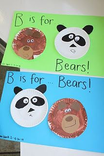 B is for Bears.  Painting and Paper plate activity