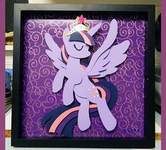 Commission: 12 x 12 Alicorn Twilight Shadowbox via Etsy
