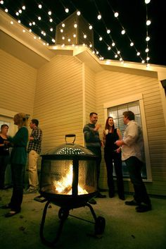 house tours, backyard patio, party lighting, outdoor fires, outdoor fire pits, yard party, string lights, outdoor parties, outdoor spaces