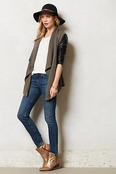 cardi with leather sleeves