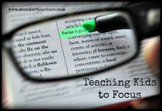 Fun focus games that help kids learn how to focus and concentrate. Via Wonder Teacher. The teachers sounds like she is working with small normal ability children. Something to look into...?