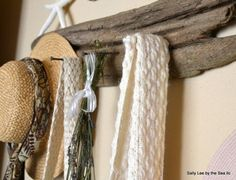 Sally Lee by the Sea | Simple DIY Driftwood Coat Rck with Nails. http://nauticalcottageblog.com/2014/04/top-6-pins-of-the-week/