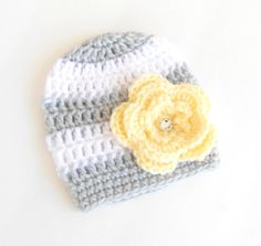 Crochet Baby Hat - Baby Girl Hat - Baby Girl Beanie - Newborn Beanie - Baby Newborn Hat - Grey and Yellow - Photo Prop - Baby - 0-3 Months