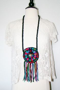 FREE SHIPPING - Festival Pouch with Fringe and Button - Coin Purse, Medicine Bag, Wallet, Necklace - Rainbow & Black. $18.00, via Etsy.