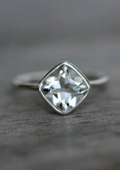 Cushion Cut White Topaz and Recycled Sterling Silver Solitaire Ring