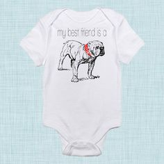 BULLDOG bodysuit Funny Baby Clothes Funny Baby by BabeeBees, $15.00