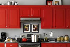 red painted kitchen cabinet doors
