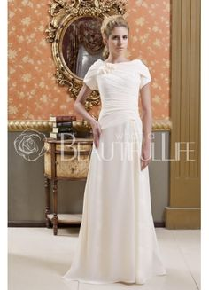 $179.49  Vintage  Flowers And Pleats Bateau Floor-Length Mother of the Bride Dress