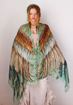 Green Silk Cotton Women scarf, Hand painted printed Wings and feathers, stunning unique and useful, perfect gift