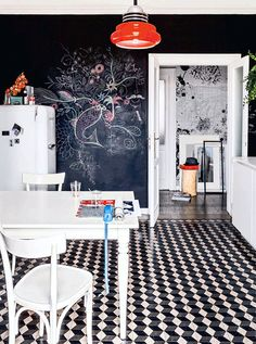 the september issue / sfgirlbybay chalkboard walls, floor, kitchen dining, chalkboard art, white kitchens, kitchen tiles