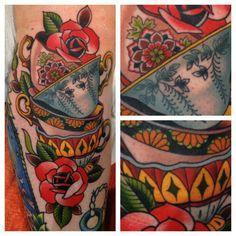 tea time, art idea, americana tattoo, teacups tattoo, teacup tattoo, ink