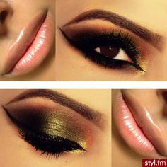 Gold eyeshadow and Nude Lips!