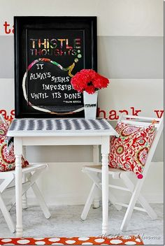 How To Make a Lettered Chalkboard Take an old oil painting add stickers and chalkboard paint.  thistlewoodfarms.com