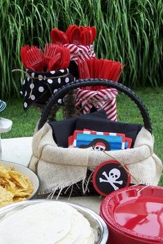 Pirate Party love the use of burlap
