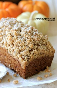 Crumbly Pumpkin Bread. Can't wait to torment Brett with all thing pumpkin!