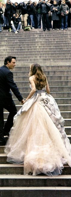 """Sarah Jessica Parker in """"The Dress"""", and Chris Noth; Vogue US July 2008 by Annie Leibovitz"""