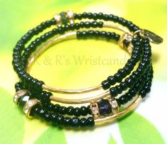 Black and Gold Beaded Coil Bracelet by RandRsWristCandy on Etsy, $10.00