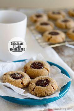 Chocolate Filled Gingersnaps @Barbara Acosta Schieving {Barbara Bakes} soft gingersnap, christmas cookie recipes, sausag, christma cooki, chocolates, gingersnap cooki, bake, baking, brie