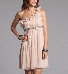 Vintage Peach One Shoulder Dresses