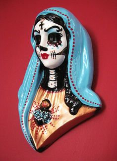CUSTOM Day of the Dead VIRGIN MARY Bust Wall by illustratedink, $60.00