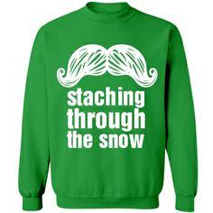 Christmas Stache  Unisex Gildan Heavy Blend Crewneck Sweatshirt