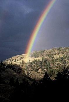 Rainbows clouds, pot of gold, mountains, god, colors, color rainbow, earth, beauty, spot