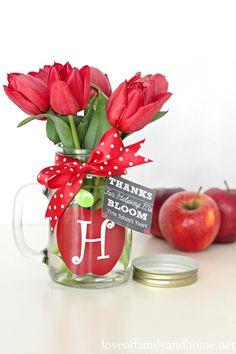 Teacher Gift Ideas - Monogram Mason Jar Vase {Free Chalkboard Printable Gift Tags} - Love of Family  Home