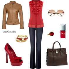 """Red and Brown"" by archimedes16 on Polyvore"