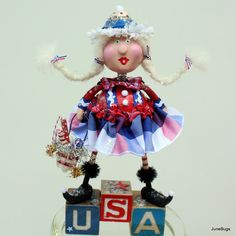 Folk Art Americana Patriotic Collectible Art by Linda Silverthorne of JuneBugsByLinda on Etsy