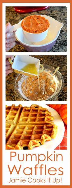 Pumpkin Waffles from Jamie Cooks It Up! #pumpkinrecipes, #fallrecipes, #fallbreakfast, #jamiecooksitup