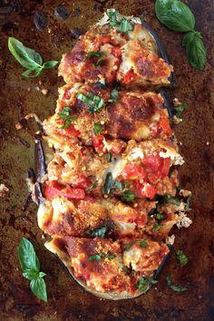 Skinny Sausage Parmesan Stuffed Eggplant by bakerbynature #Eggplant #Sausage