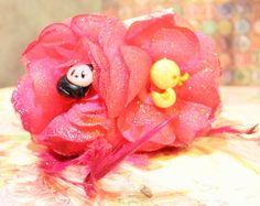 Panda Hearts Duck Rockabilly Crystal Flower Set by FilthyCoffin, $7.00