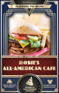 Walt Disney World Planning Pins: Rosie's All-American Cafe