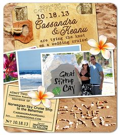 """Our destination cruise wedding Save the Date magnets! Our solution to depicting we were having a wedding on a boat, on the way to the beach. (Rather than having to choose a beach themed invite w standard copy or a ship themed invite, we combined everything and added """"on a cruise"""" language.)"""