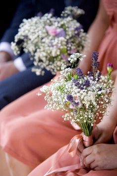 bride's maid's flower bouquet but with pink instead of purple