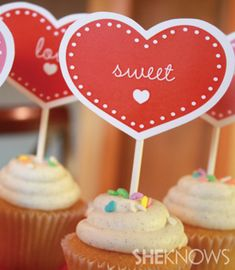 FREE printable Valentine cupcake picks and favor tags